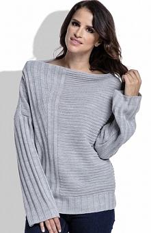 FIMFI  I212 sweter szary Modny sweter damski, wykonany  miękkiej dzianiny, z długim rękawem