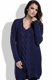 FIMFI  I214 sweter granatowy Elegancki sweter, wykonany z ciepłej dzianiny, dłuższy fason