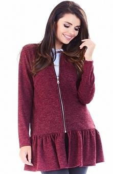 Awama A193 sweter bordowy Uroczy sweter damski, z długim rękawem, zapinany z ...