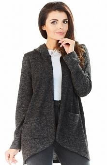 Awama A196 sweter grafitowy Komfortowy sweter z kapturem, wykonany z przyjemnej, jednolitej dzianiny, z długim rękawem
