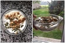 Dzis owsianka z jogurtem naturalnym, bananem, odrobiną masła orzechowego, pes...