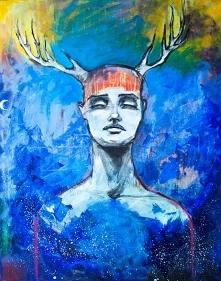 """""""POŁĄCZENIE"""" obraz wykonany farbami akrylowymi na płótnie o wym. 100x80cm przez artystkę plastyka Adrianę Laube. Obraz naciągnięty na blejtram, ma zamalowane boki. Na ..."""