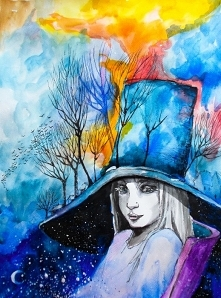 """""""ZIEMIA JEST KOBIETĄ"""" obraz wykonany farbami akrylowymi na płótnie o wym. 100x80cm przez artystkę plastyka Adrianę Laube. Obraz naciągnięty na blejtram, ma zamalowane ..."""