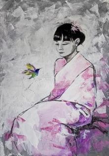 """""""TU I TERAZ"""" obraz wykonany farbami akrylowymi na płótnie o wym. 100x70cm przez artystkę plastyka Adrianę Laube. Obraz naciągnięty na blejtram, ma zamalowane boki. Na ..."""