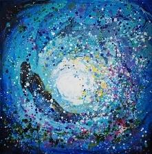 """""""GŁĘBIA"""" obraz wykonany farbami akrylowymi na płótnie o wym. 100x100cm przez artystkę plastyka Adrianę Laube. Obraz naciągnięty na blejtram, ma zamalowane boki. Na spr..."""
