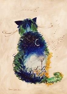 """""""KOT NOCNY"""" obraz namalowany farbami akrylowymi na płótnie 70x50cm przez artystkę plastyka Adrianę Laube. Obraz naciągnięty na blejtram, ma zamalowane boki, sygnowany...."""