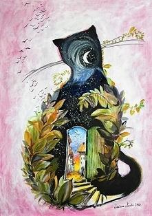 """""""KOT JESIENNY"""" obraz namalowany farbami akrylowymi na płótnie 70x50cm przez artystkę plastyka Adrianę Laube. Obraz naciągnięty na blejtram, ma zamalowane boki, sygnowa..."""