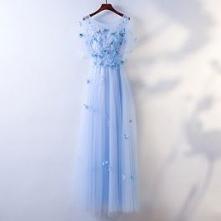 Piękne Niebieskie Sukienki Wieczorowe 2017 Princessa Motyl Z Koronki Kwiat Wycięciem Bez Pleców Kótkie Rękawy Długość Kostki Wieczorowe