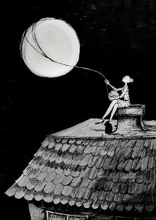"""""""KOBIETA I PEŁNIA"""" praca wykonana piórkiem przez artystkę plastyka Adrianę Laube na papierze A3. Praca sygnowana, wysyłana w kartonowej tubie. Cena: 200zł"""