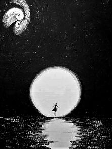 """""""LA LUNA"""" praca wykonana piórkiem przez artystkę plastyka Adrianę Laube na papierze A3. Praca sygnowana, wysyłana w kartonowej tubie. Cena: 200zł"""