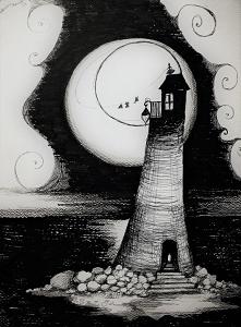"""""""LATARNIA MORSKA"""" praca wykonana piórkiem przez artystkę plastyka A..."""