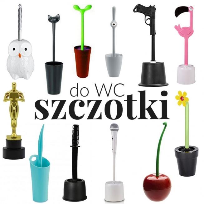 """""""Wesołe i kolorowe dodatki do łazienki"""" - wpis z inspiracjami i produktami na blogu Mocem - szczotki do wc - sowa, kot, kwiat, roślinka, pistolet, flamin, oscar, victor, statuetka, miecz, mikrofon, wiśnia"""
