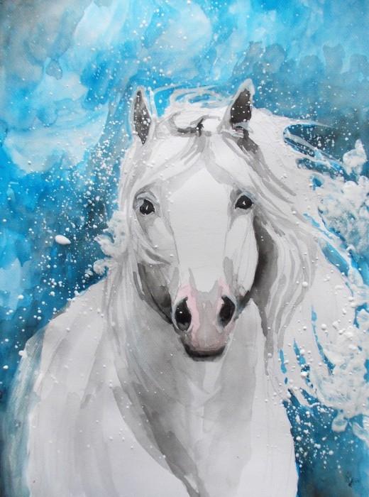 """""""ŁAGODNOŚĆ"""" akwarela wykonana przez artystkę plastyka Adrianę Laube na papierze A3. Praca sygnowana, wysyłana w kartonowej tubie. Na sprzedaż."""