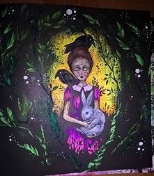 """""""Po drugiej stronie snu"""", czyli kolorowankowe uspokojenie z wykorzystaniem colorino artist i żelpenów z lidla :)"""