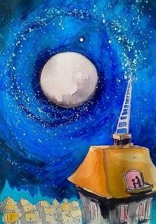 """""""KOCHANKOWIE"""" obraz namalowany farbami akrylowymi na płótnie 70x50cm przez artystkę plastyka Adrianę Laube. Obraz naciągnięty na blejtram, ma zamalowane boki, sygnowan..."""