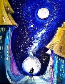 """""""INNA PEŁNIA"""" obraz namalowany farbami akrylowymi na płótnie 70x50cm przez artystkę plastyka Adrianę Laube. Obraz naciągnięty na blejtram, ma zamalowane boki, sygnowan..."""