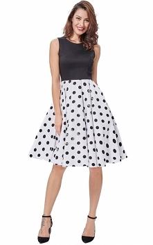 Rozkloszowana sukienka z czarną górą i białym dołem w duże czarne grochy | su...