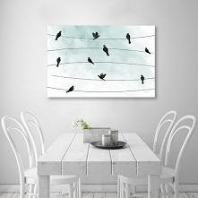 Obraz z ptaszkami na turkusowym tle.