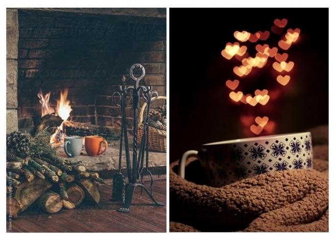 Rozgrzewająca herbatka przy kominku, to idealne połączenie gdy na dworze szaleje wiatr.
