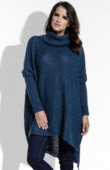 FIMFI I213 sweter granatowy Komfortowy sweter, dłuższy fason idealnie będzie współgrać z legginsami, dekolt wykończony golfem