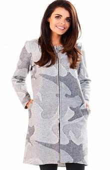 Awama A199 sweter szary mieszany Zjawiskowy płaszcz, prosty krój, wykonany z miękkiej dzianiny