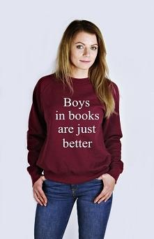 Damska bluza z nadrukiem - modna młodzieżowa bluza z napisami BOYS IN BOOKS A...