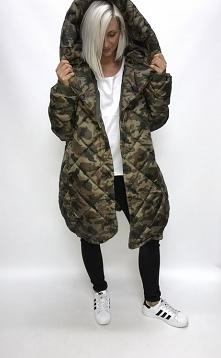długi obszerny płaszcz oversize pikowany wielki kaptur, taak to mój styl wiel...