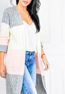 Pastelowy kardigan narzutka sweter pasy WŁOSKI >> Sukienki.shop