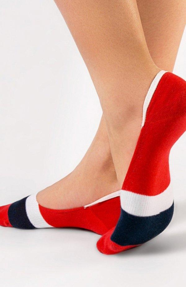 Conte Classic stopki bordowe Komfortowe skarpetki damskie, fason typu stopki, wzorzyste