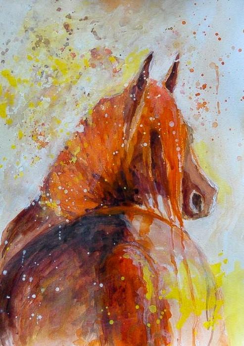 """Obraz """"W słońcu"""" wykonany farbami akwarelowymi przez artystkę plastyka Adrianę Laube na papierze A3. Praca sygnowana, wysyłana w kartonowej tubie. Na sprzedaż."""