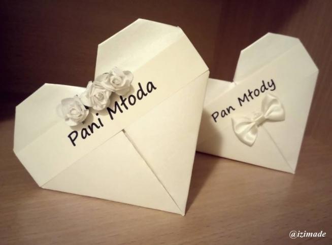 Winietki weselne trochę w nietypowym stylu, bo robione techniką origami.