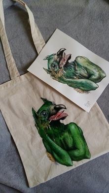Moja pierwsza ręcznie malowana torba :) (fb/zuzarysowana, ig/zmrusialek )