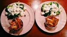 Krewetki i sałatka z brokuła oraz fety w sosie czosnkowym :)