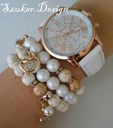 Zestaw: zegarek + ręcznie wykonane bransoletki bransoletki z kamieni i matowych koralików szklanych