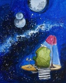 """Obraz """"Obserwator"""" namalowany farbami akrylowymi na płótnie o wymiarach 50x40cm przez artystkę plastyka Adrianę Laube.Obraz naciągnięty na blejtram, ma zamalowane boki..."""