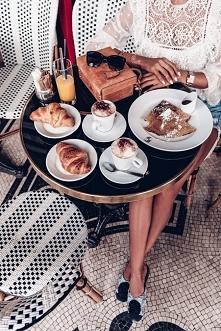 Paris cafe, Paris Croissants, Cappuccino, Zimmermann top, Mark Cross bag, Chanel camellia flats