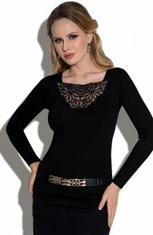 Eldar Tess bluzka Elegancka czarna bluzka, dekolt wykończony piękna koronką, bluzka z długim rękawem