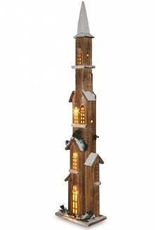 Drewniana wieża, podświetlona LED