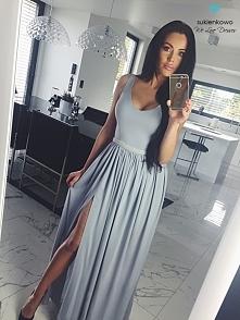 sukienkowo.com SHANNON - Długa sukienka z perłami i rozcięciem szaro niebiesk...