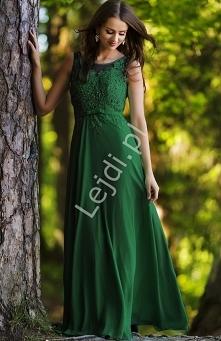Przecudna zielona długa suknia wieczorowa. Suknia zdobiona koralikami i cekinamina gipiurowej koronce. Zapinana z boku na zamek, z tyłu szeroka dopasowująca sie do ciała guma. D...