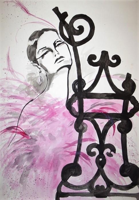 """""""DAMA RÓŻANA"""" obraz wykonany farbami akwarelowymi przez artystkę plastyka Adrianę Laube na papierze 70x50cm. Obraz sygnowany. Na sprzedaż."""