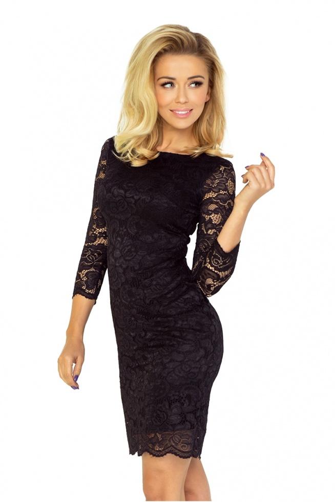 Czarna koronkowa sukienka z rękawkiem 3/4 na sylwestra, studniówkę, andrzejki :)