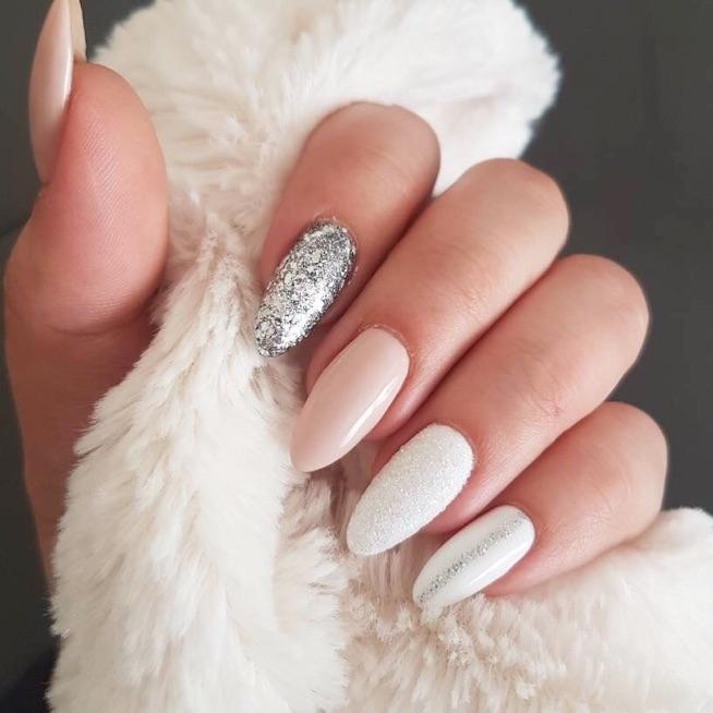 migdałki, srebrne/białe/nude