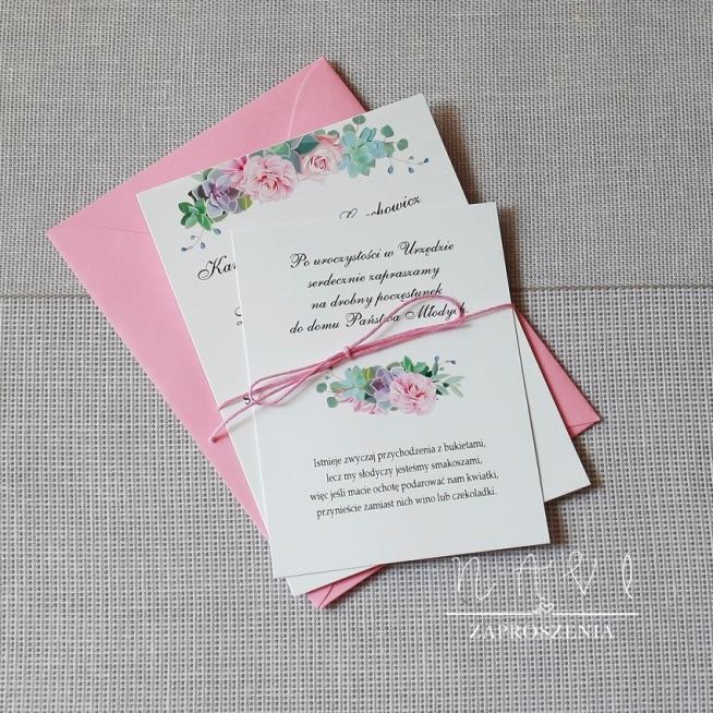 Zaproszenia ślubne sukulenty