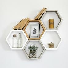 dekoracyjne półki heksagon z litego drewna