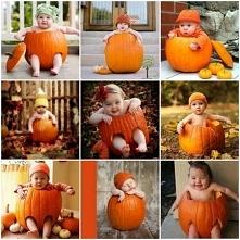Pomysł na sesję Jesienną Dzieciątko w dyni.