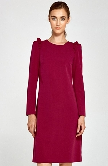 Nife S89 sukienka bordowa Przepiękna sukienka, fason typu trapez, ramiona sukienki ozdobione falbankami