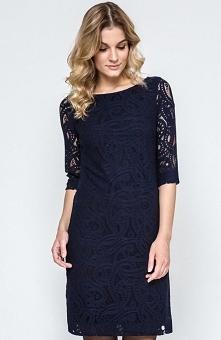 Ennywear 240101 sukienka Luksusowa koronkowa sukienka, prosty krój, dekolt w łódkę, rękaw o długości 3/4