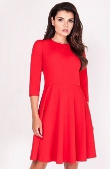 Nommo NA205 sukienka czerwona Elegancka sukienka, wykonana z jednolitego materiału, rozkloszowany krój