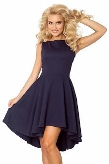 Ekskluzywna sukienka z dłuższym tyłem w kolorze granatowym :) numoco